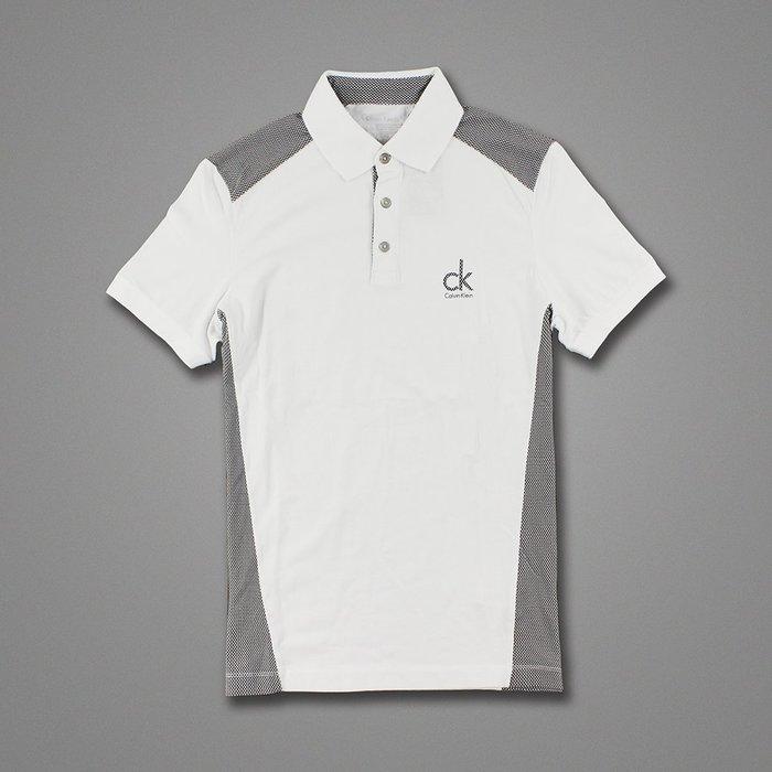 美國百分百【全新真品】Calvin Klein polo衫 男 純棉 非網眼 上衣 短袖  CK 修身 白色 H054