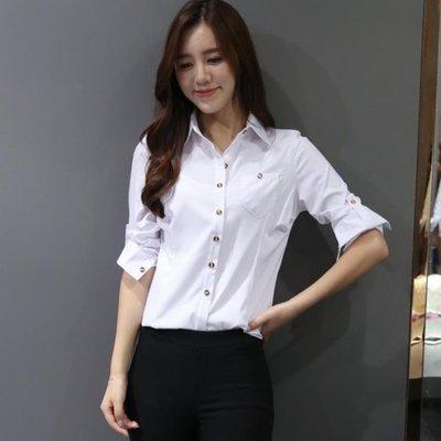 春裝新款白襯衫女長袖韓范百搭修身職業裝工作服正裝白色襯衣工裝 【創意家飾居家生活】