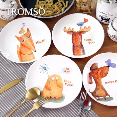 TROMSO芬蘭動物插畫陶瓷盤四入一組...