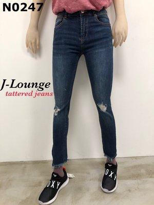 N0247 全新歐美膝蓋刷破褲腳剪爛的俏臀美尻彈力破褲牛仔褲緊身褲tattered jeans J-Lounge