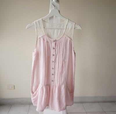 轉賣 布蕾拼接外搭棉麻洋裝 sizeS 米白/粉色