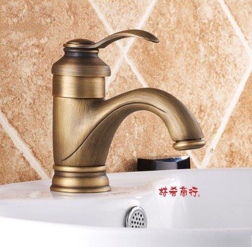 衛浴 臉盆 造型 龍頭 廁所復古水龍頭全銅 歐式面盆冷熱龍頭 衛浴龍頭 古銅色髮絲紋$980