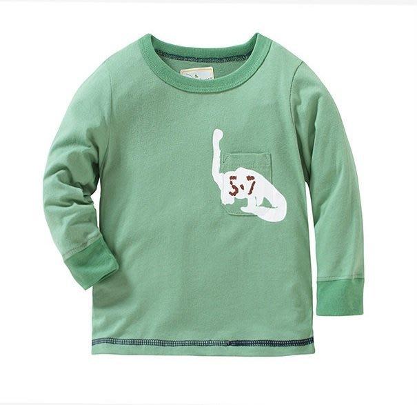 ☆草莓花園☆BM-2453綠色恐龍 新品歐美風兒童長袖衣服 純棉童T 男童 兒童t恤