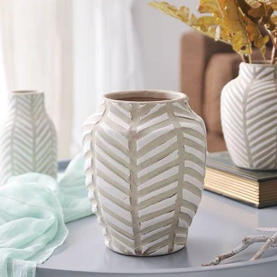 【Eze Art Deco】美國設計師傢飾,美式鄉村 小號條紋裝飾陶制花瓶,花器花瓶造型花瓶花盆 擺飾佈置 新居入厝送禮