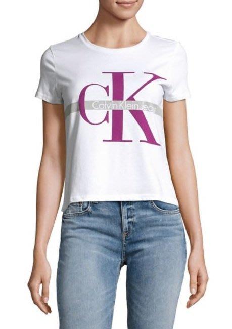 CK Calvin Klein 女生 短袖T恤 CK大LOGO 白色 現貨