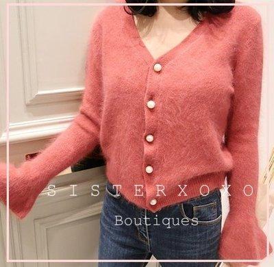 Sis KOREA style 韓國代購 氣質優雅 名媛風 豆沙色超顯白 優雅女人味 貂絨喇叭袖設計 針織衫 毛衣外套
