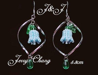 J&J精品~愛的環繞~珠寶編織水晶鈴蘭花墬亮麗耳環~水藍款
