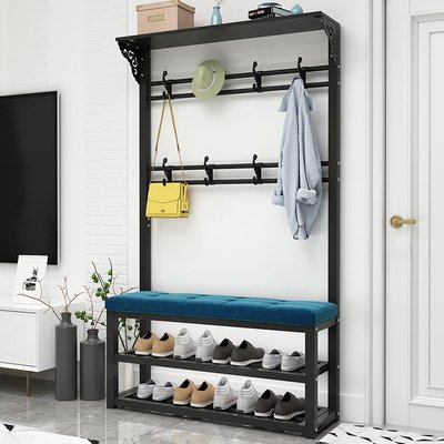 【居家上新】家用換鞋凳掛衣架一體進門口入戶多功能玄關衣帽架軟包可坐墊鞋柜