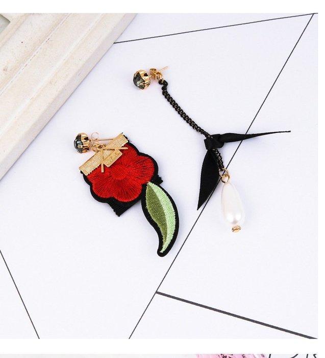日韓百搭時尚後掛式耳針復古繡花花朵水滴不對稱耳環