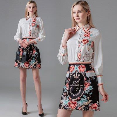 實拍現貨3581#新款名媛復古翻領長袖襯衫洋氣赫本風半身裙兩件套