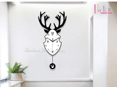 ☆[Hankaro]☆ 歐美流行創意木質鐵藝麋鹿造型鐘擺時鐘
