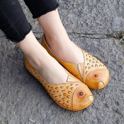 柒柒KR 正韓原創民族風真皮手工女鞋復古擦色雕刻魚形鞋文藝低跟四季小單鞋