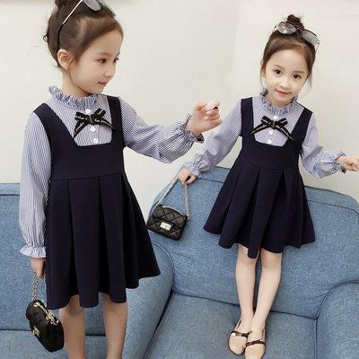 【溜。溜。選物】早秋新款*長袖拚色條紋 學院風洋裝 連衣裙