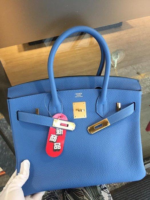 典精品 Hermes 全新 真品 2T Bleu paradis 天堂藍 藍色 金扣 30 cm Birkin 現貨