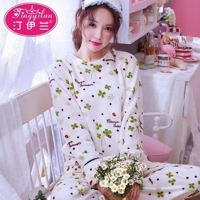 大碼家居服 女秋冬加厚睡衣法蘭絨套裝可愛外出長袖珊瑚絨圓領套頭加絨 js14659