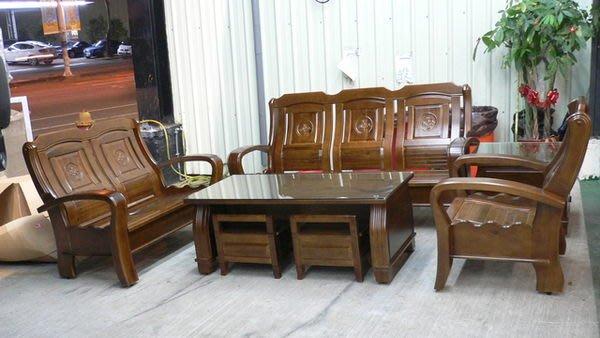 宏品二手家具館 台中便宜2手家具 實木家具賣場 A665*全新樟木製沙發*木頭沙發/木板椅/客廳傢俱含大小茶几 腳椅