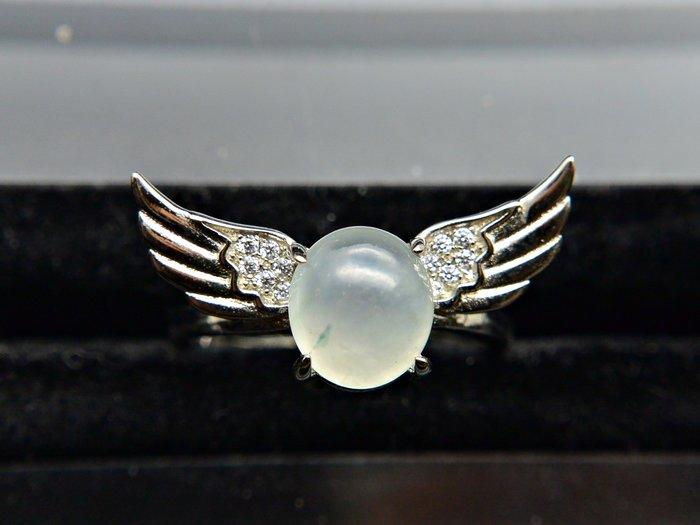 《緬甸翡翠專區》《戒指》正品A貨 天然緬甸翡翠 白冰糯飄花蛋面 天使之翼 戒子 #11