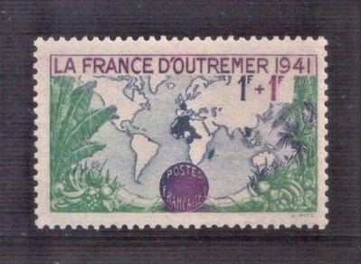 【珠璣園】F4136 法國郵票 - 1941年 殖民地版圖  附捐郵票 1全