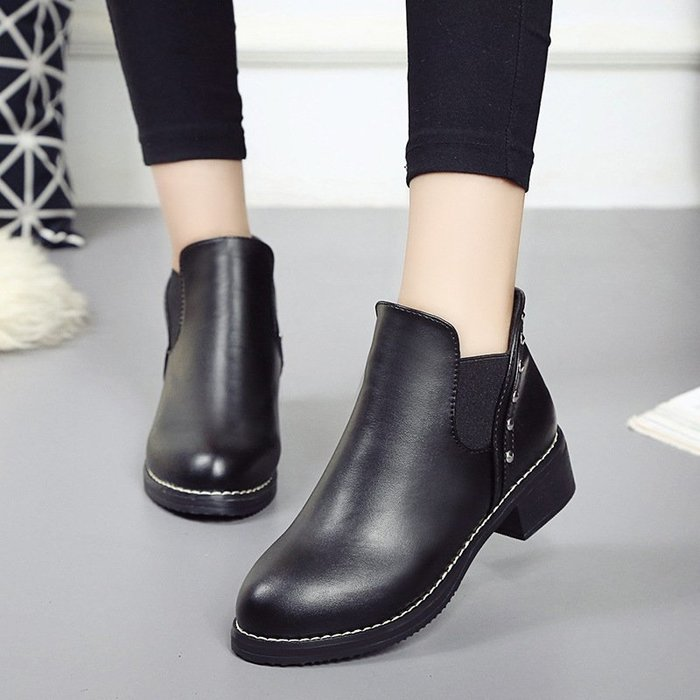 【時尚完美】馬丁靴2018新款春季女鞋馬丁靴英倫風中跟單鞋女短靴及裸靴平底女靴子休閒