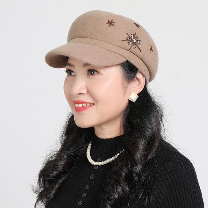 羊毛呢帽子女秋冬季鴨舌帽中年媽媽貝雷帽中老年人保暖帽奶奶冬帽