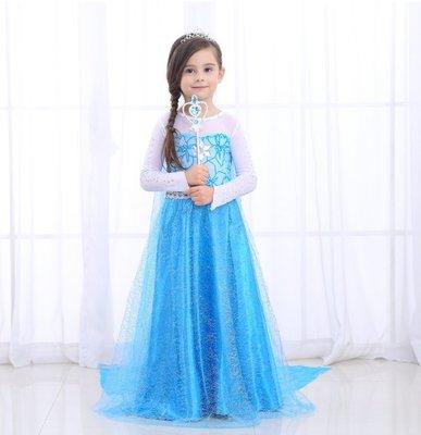 蜜寶貝*【中大女童-冰雪奇緣裙艾莎elsa女王禮服 萬聖節洋裝連衣裙110-150-0024