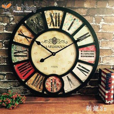 美式客廳掛鐘復古懷舊大號工業風創意餐廳酒吧裝飾咖啡館壁掛鐘表 js2913