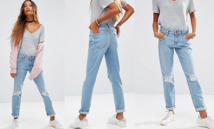 ◎美國代買◎ASOS雙膝刷破反摺褲口淺藍色復古男朋友風格高腰刷破牛仔褲~歐美街風~大尺碼