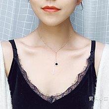 性短鎖骨鈦鋼黑瑪瑙簡約項女百搭玫瑰金裝飾時尚吊墜