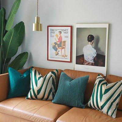 抱枕套 布藝 沙發抱枕套 靠墊設計師輕奢樣現代板房綠色抱枕沙發床上靠墊可拆洗高精密辦公室腰
