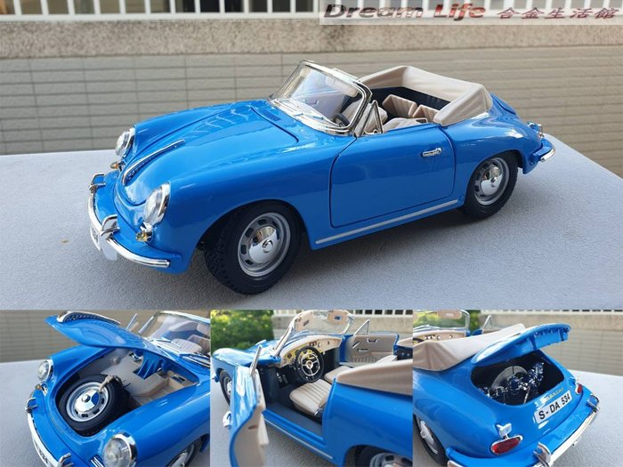【Bburago 精品】1/18 1961 Porsche 356B Cabriolet 敞篷 全新藍色~現貨特惠價~!