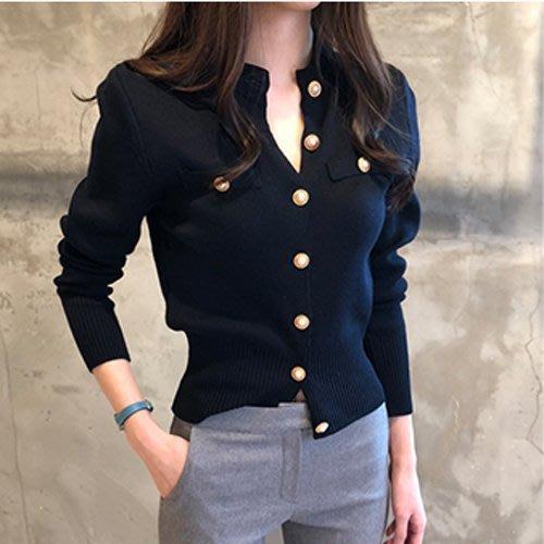 毛衣長袖針織衫 氣質釦子設計修身針織上衣 艾爾莎【TGK7107】