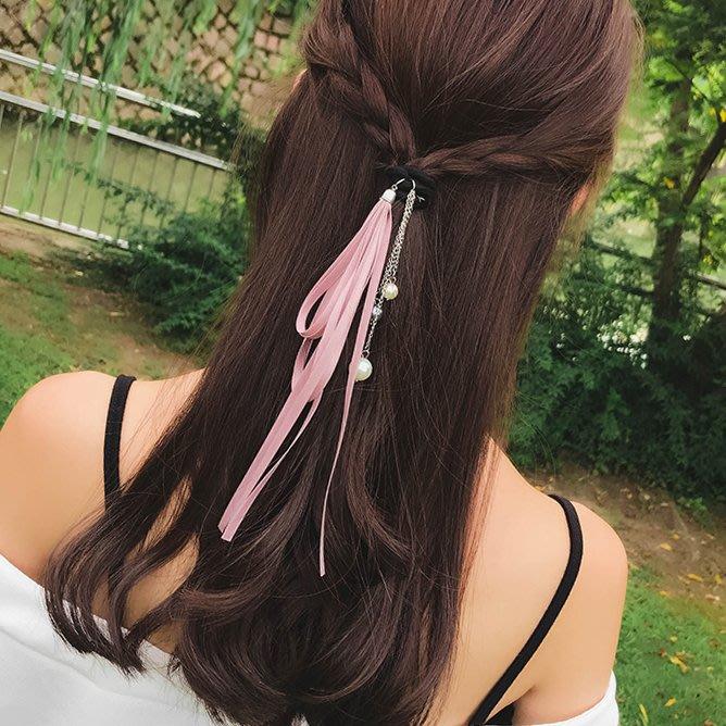 FEI日韓代購~日系甜美簡約立體花朵絲帶飄帶髪繩頭繩髪圈橡皮筋扎馬尾頭飾髪飾