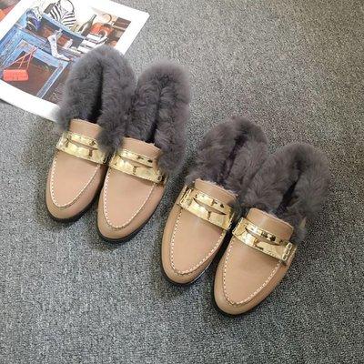 毛毛鞋女冬加絨保暖平底鞋女單鞋英倫風懶人鞋樂福鞋女外穿半拖鞋