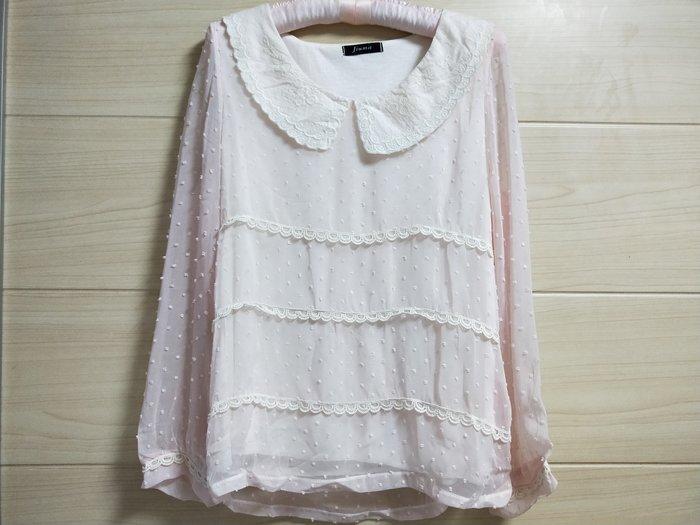 丹丹衣坊--韓款小圓領粉色雪紡上衣