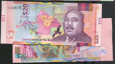 【紙幣】Bahamas (巴哈馬),P-new 20 Dollars,2018,品相全新UNC