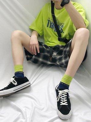 短褲 夏季潮流中褲格子短褲男士寬鬆五分褲韓版休閒褲子潮 【】-百利