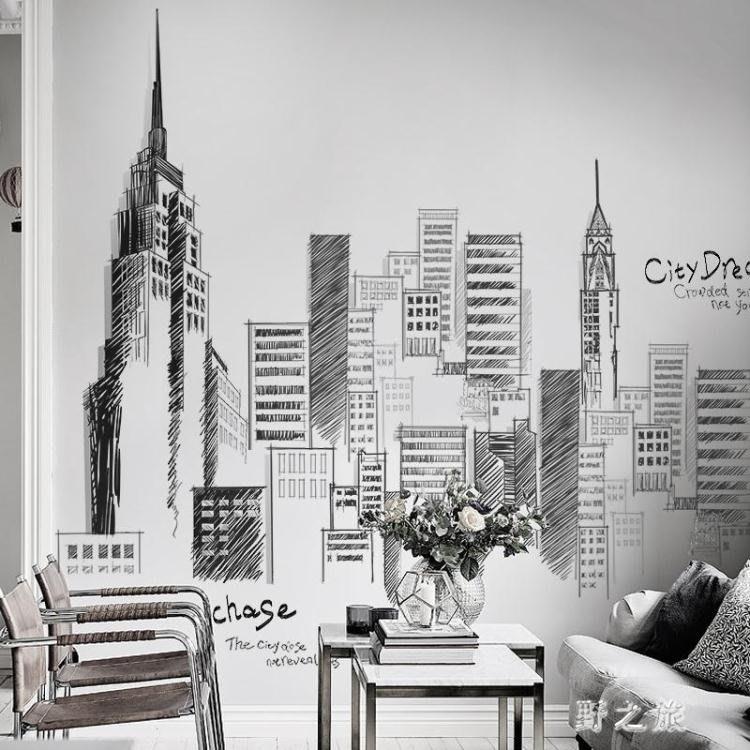 促銷優惠 大型創意城市貼畫客廳臥室背景壁貼墻面裝飾貼紙黑白墻壁建筑墻紙自粘 KV652