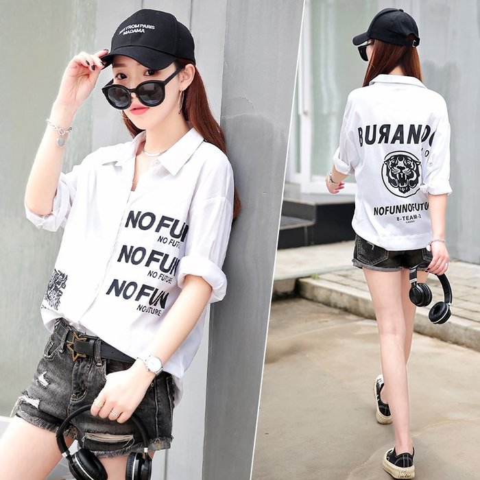 Fashion*中袖襯衫 設計感小眾春裝新款歐貨上衣 韓版寬松白色襯衣潮