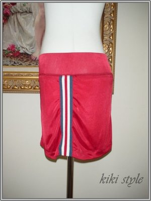 kiki style*瘋狂188元*專櫃品牌IN-休閒運動風紅色單邊織帶滾邊彈性短裙sly韓mous賽車asos街頭21