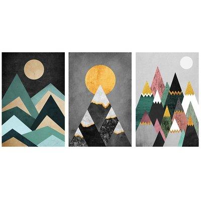 現代簡約客廳裝飾畫幾何大山抽像畫意境掛畫