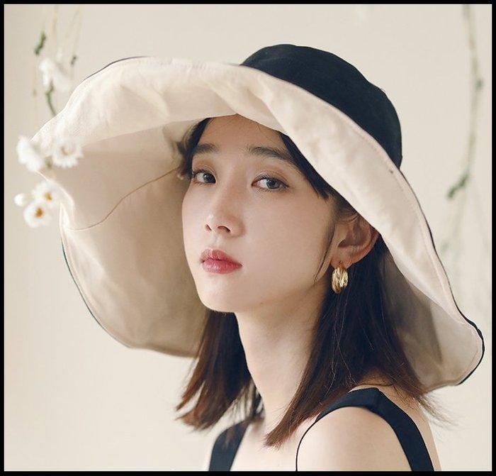 【Fashion歐洲站】大沿防曬遮陽帽漁夫帽女韓版日系防紫外線出遊太陽帽子