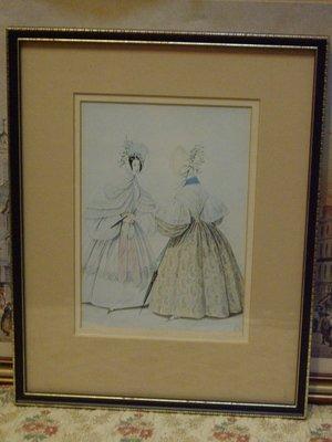 歐洲古物時尚雜貨 藝術創作 英國 仕女畫2女1拿傘 掛畫 壁掛擺飾品