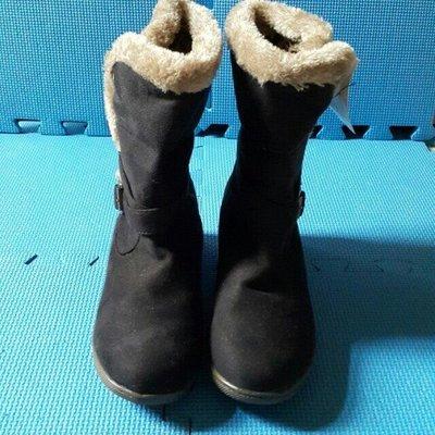 ↖☆婍婍小舖☆↘轉賣 全新 黑色內裏豹紋毛邊溫暖 短靴 38 女靴 【台北】