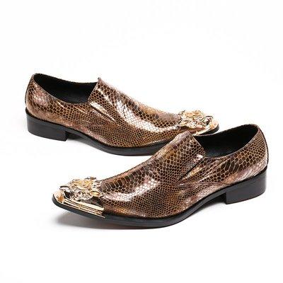 個性時裝男皮鞋 歐美英倫商務男皮鞋夜店舞臺走秀發型師尖頭皮鞋男士套腳懶人鞋潮