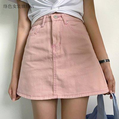 現貨牛仔裙半身裙不規則帶內襯版復古學院風百搭純色高腰chic半身裙女半身裙