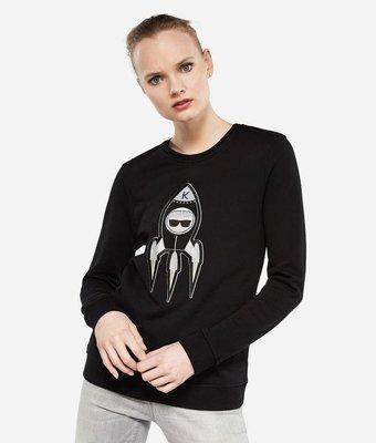 限時折扣 🔰 粉專享免運 { Karl Lagerfeld } Q版刺繡太空梭卡爾衛衣 黑色
