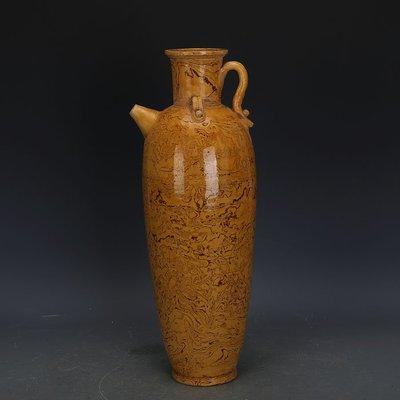 ㊣姥姥的寶藏㊣ 唐代黃地全手工絞胎雙系執壺  文物出土古瓷器古玩古董收藏品