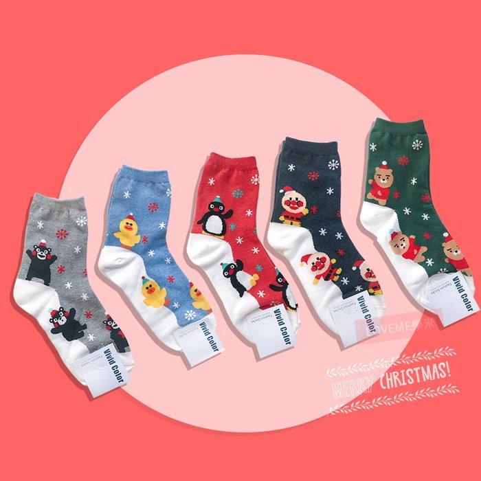 現貨 韓國 聖誕 卡通人物滑雪襪 5款 熊本熊 莎莉 企鵝 麵包超人 熊 聖誕節 長襪 長統襪