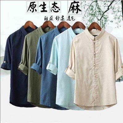 唐裝 唐裝中式亞麻短袖襯衫中老年男士夏裝寬鬆薄棉麻半袖休閒立領上衣 M-5XL