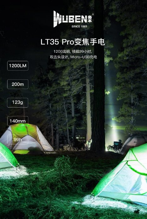 【angel 精品館 】WUBEN LT35Pro 1200流明USB充電/可調焦手電筒(附贈原廠腳踏車夾)